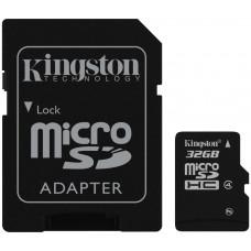 Карта памяти Kingston microSDHC 32GB Class 4 + SD адаптер